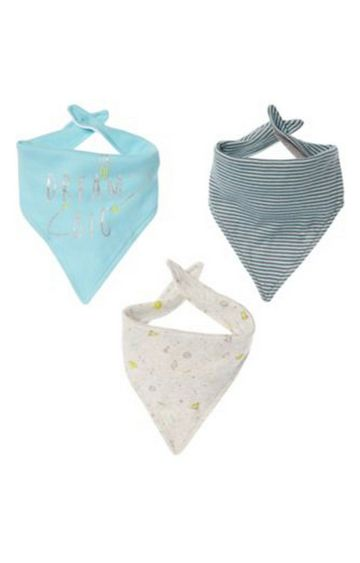 Mothercare | Blue and White Printed Bib - Pack of 3