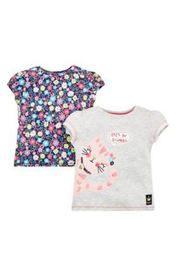 Mothercare | Let'S Be Friends Cat T-Shirts - 2 Pack