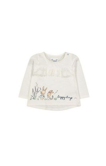 Mothercare   White Bunny Broderie T-Shirt