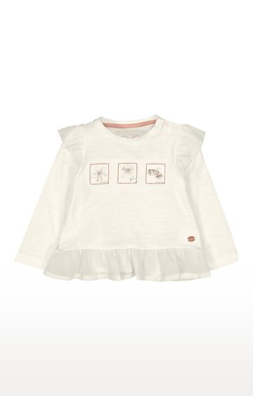 Mothercare | White Frilled Hem Butterfly T-Shirt