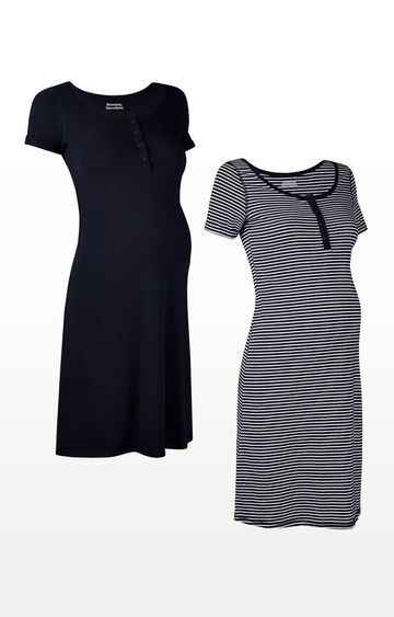 Mothercare | Navy Stripe Nursing Nightdresses - 2 Pack