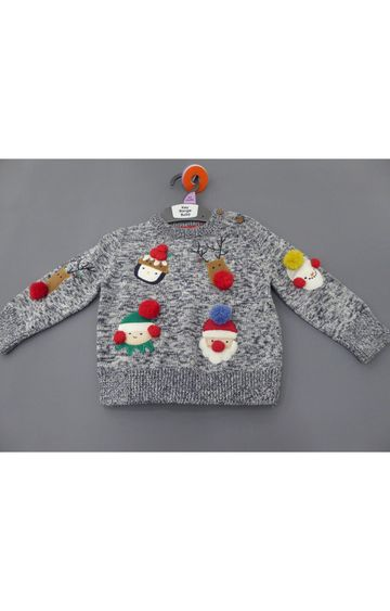 Mothercare   Grey Knitted Christmas Jumper