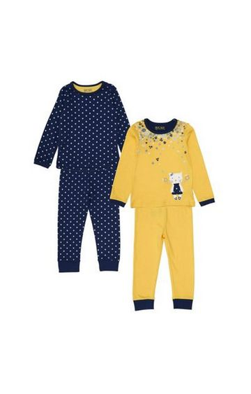 Mothercare   Yellow Floral Cat Pyjamas - 2 Pack