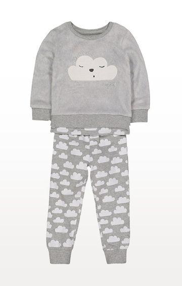 Mothercare | Grey Fluffy Cloud 3-Piece Pyjama Set