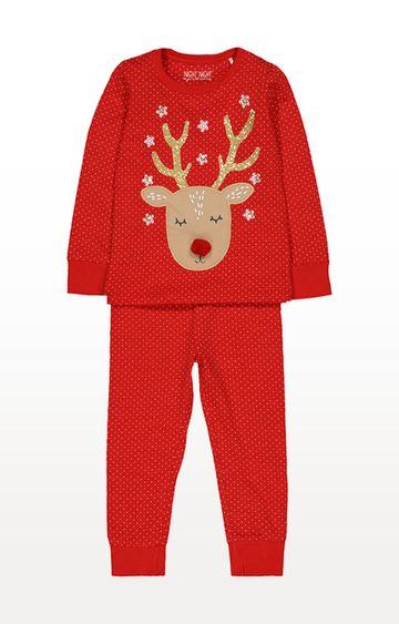Mothercare   Red Reindeer Polka Dot Pyjamas