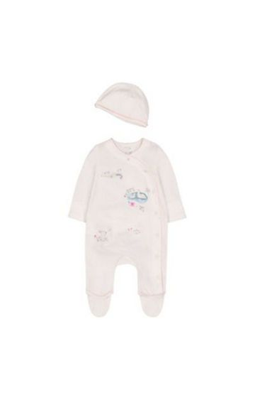 Mothercare | White Dobby Bunny All In One And Hat