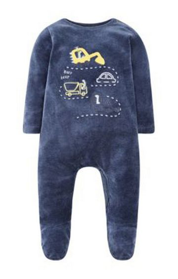 Mothercare | Blue Little Truck Velour All In One