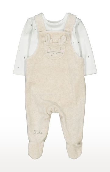 Mothercare | My First Giraffe Velour Dungaree And Bodysuit Set