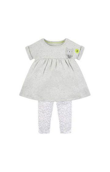 Mothercare   Grey Bear Dress And Leggings Set