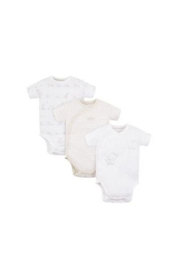 Mothercare | My First Elephant Wrap Opening Bodysuits - 3 Pack