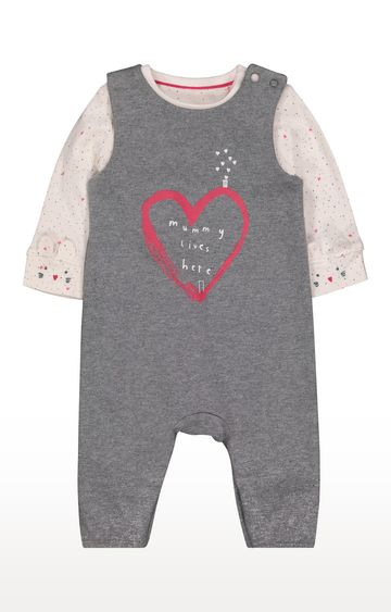 Mothercare | Grey Heart Dungarees And Bodysuit Set