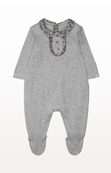 Mothercare | Grey Velour Floral All In One