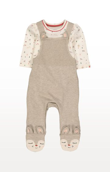 Mothercare | Knitted Deer Dungarees and Bodysuit Set