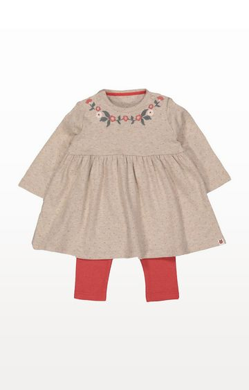 Mothercare | Oatmeal Spot Floral Dress And Leggings