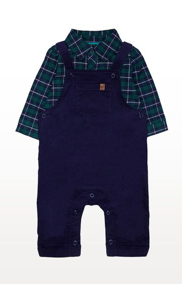 Mothercare | Navy Cord Dungarees And Check Bodysuit Set