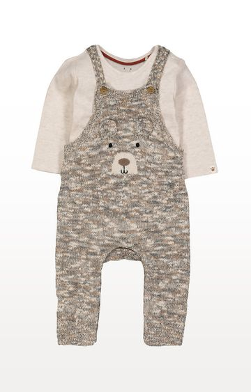 Mothercare | Knitted Bear Dungarees and Bodysuit Set