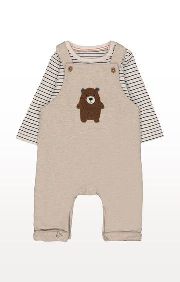 Mothercare   Bear Dungarees and Striped Bodysuit Set
