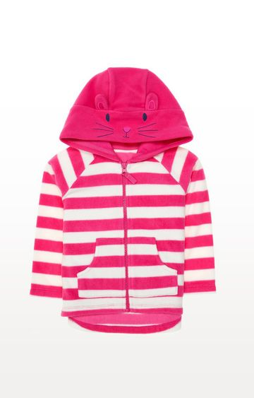 Mothercare | Pink Stripe Bunny Fleece Hoodie