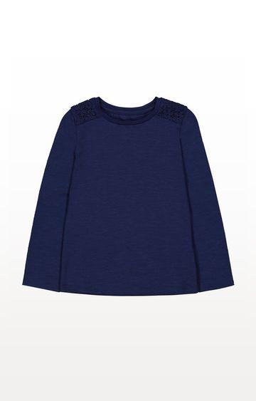 Mothercare | Navy Crochet Shoulder T-Shirt