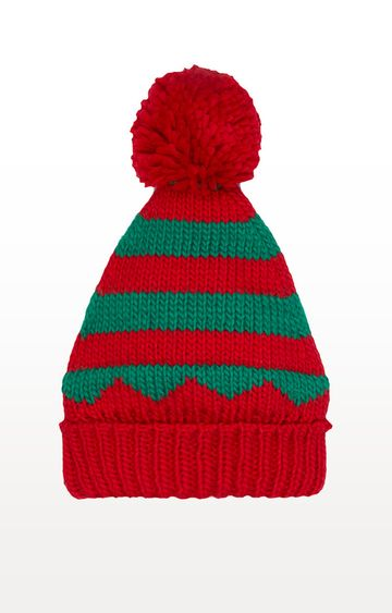 Mothercare | Red And Green Stripe Elf Beanie Hat