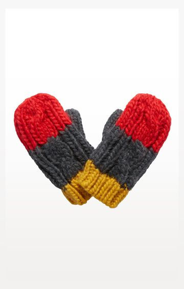 Mothercare | Mustard, Grey And Red Mittens