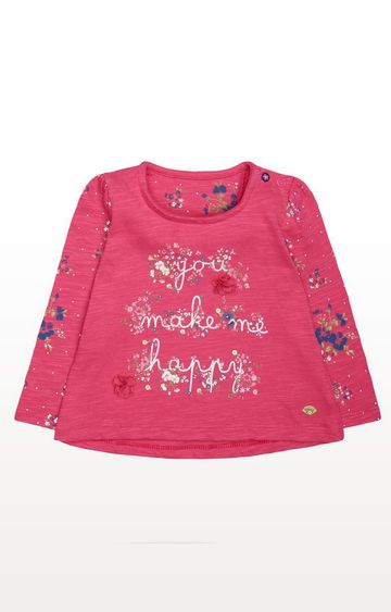 Mothercare | Pink Floral Happy T-Shirt