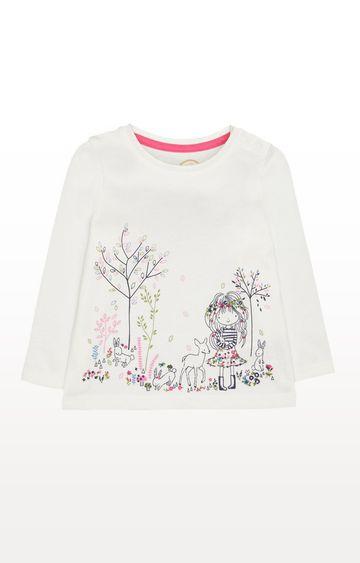 Mothercare | White Printed Woodland Animals T-shirt