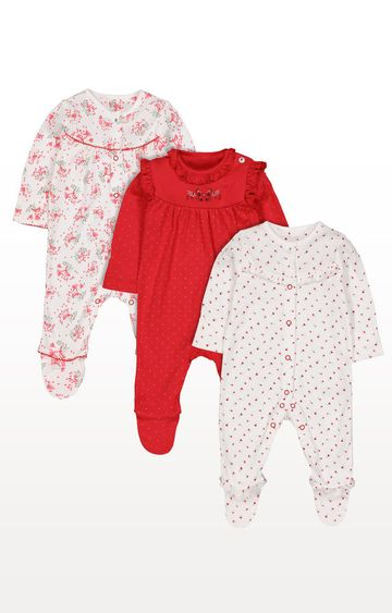 Mothercare | Multicoloured Printed Berry Sleepsuits - Pack of 3