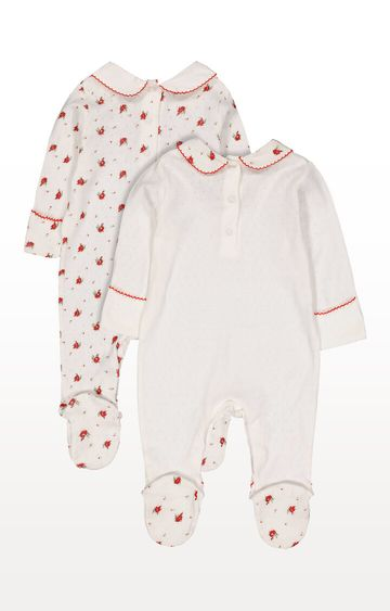 Mothercare | White Floral Pointelle Sleepsuits - Pack of 2