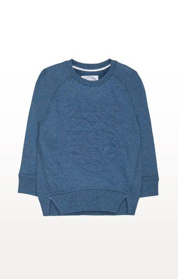 Mothercare   Blue Printed Geo Bear Sweat Top