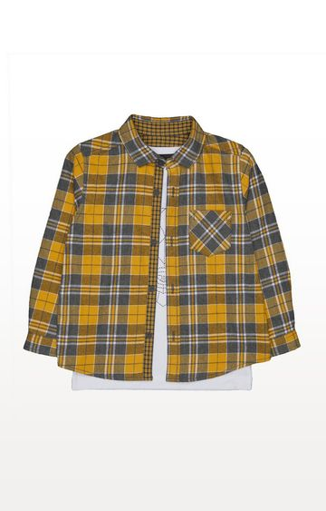Mothercare | Yellow Checked Shirt And Bear T-Shirt