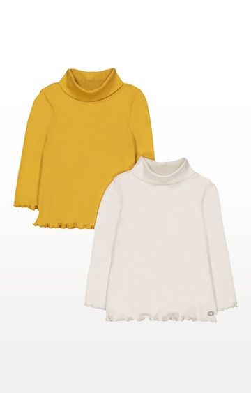 Mothercare   Cream And Mustard Roll Neck Tops - 2 Pack