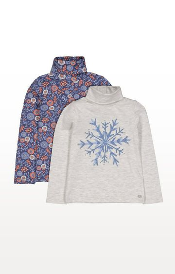 Mothercare | Snowflake Floral Roll Neck Tops - 2 Pack
