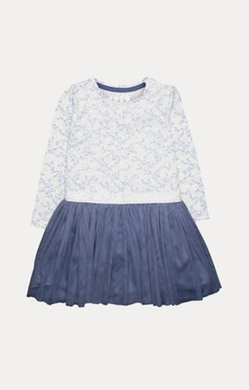 Mothercare | Silver And Blue Sprig Twofer Dress