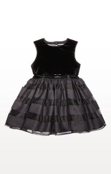 Mothercare | Black Velvet Stripe Dress