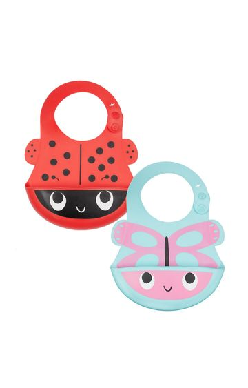 Mothercare | Toddler Silicone Crumbcatcher Bibs - Pack of 2