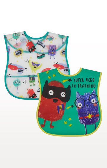 Mothercare | Blue Monster Toddler Crumb Catcher Bibs - Pack of 2