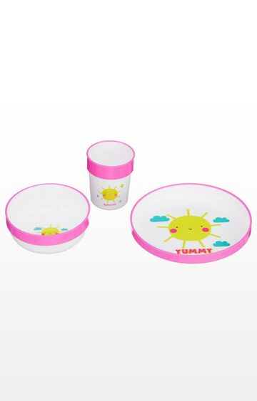 Mothercare | Pink and White Three-Piece Feeding Set