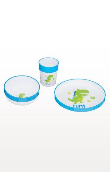 Mothercare | Blue and White Three-Piece Feeding Set