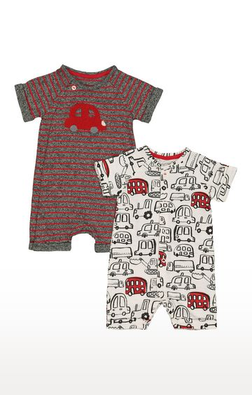 Mothercare | Grey & White Printed Romper - Pack of 2