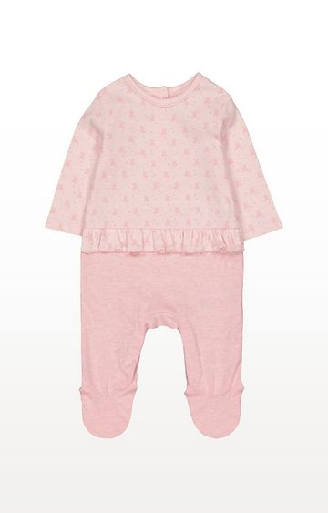 Mothercare | My First Pink Bear Mock Frill Top All In One