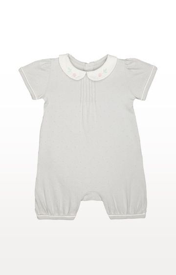Mothercare | Grey Printed Peter Pan Spot Romper
