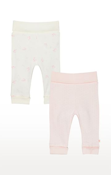 Mothercare | White and Pink Printed Trousers - Pack of 2