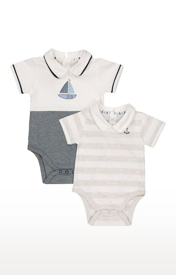 Mothercare | Grey & Blue Printed Romper - Pack of 2