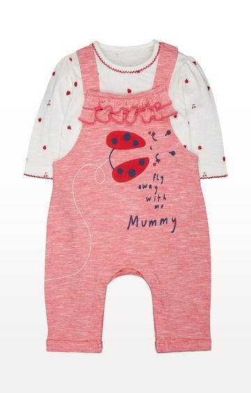 Mothercare | Striped Strawberry Dungarees and Bodysuit Set