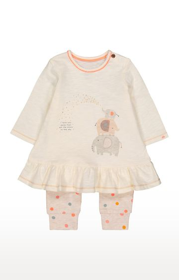 Mothercare | Beige Printed Twin Set