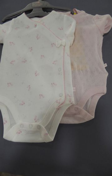 Mothercare | Pink & White Printed Romper - Pack of 2