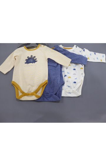 Mothercare | Yellow & Blue Printed Romper - Pack of 3