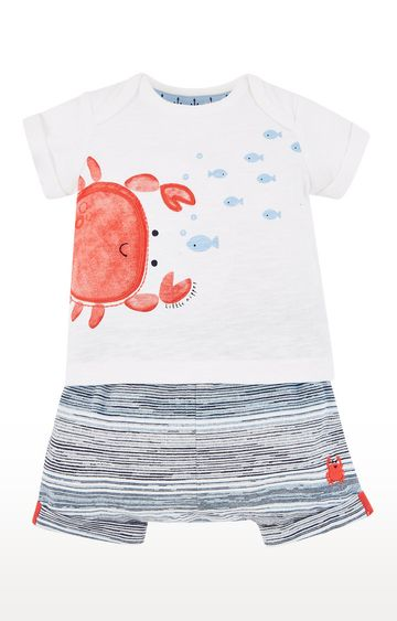 Mothercare | White and Grey Printed Twin Set