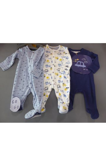 Mothercare | Blue & White Printed Romper - Pack of 3